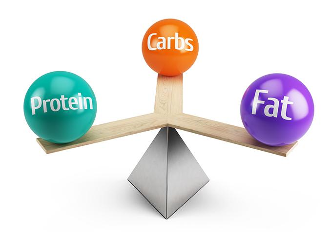 たんぱく質、脂質、炭水化物の三大栄養素を表現したオブジェ
