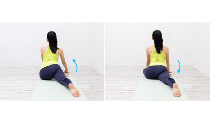 そけい部が浮いた状態(左)息を吐きながらそけい部を床につける(右)
