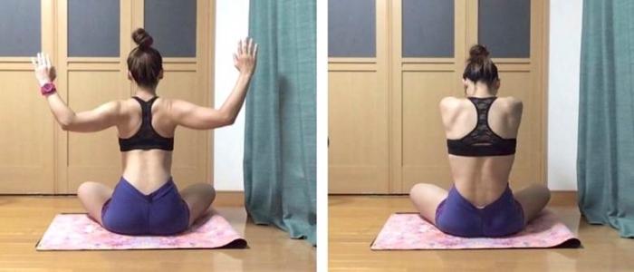 肩甲骨の内転と外転の動き