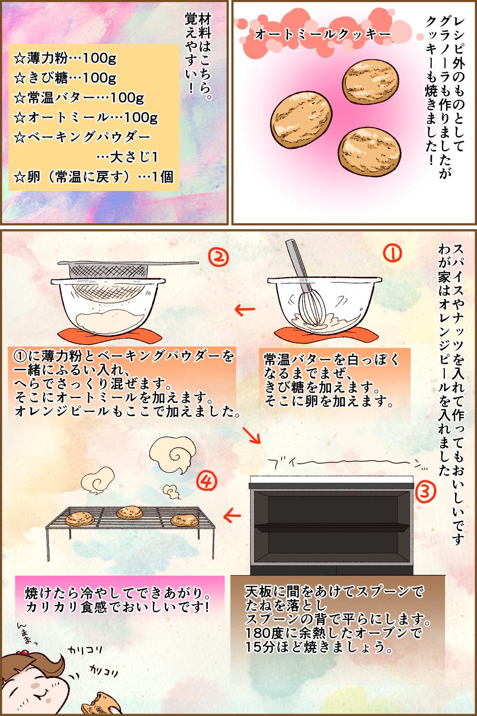 レシピ外のものとしてグラノーラも作りましたがクッキーも焼きました!オートミールクッキー材料はこちら。覚えやすい!☆薄力粉…100g☆きび糖…100g☆常温バター…100g☆オートミール…100g☆ベーキングパウダー…大さじ1☆卵(常温に戻す)…1個スパイスやナッツを入れて作ってもおいしいですわが家はオレンジピールを入れました常温バターを白っぽくなるまでまぜ、きび糖を加えます。そこに卵を加えます。①に薄力粉とベーキングパウダーを一緒にふるい入れ、へらでさっくり混ぜます。そこにオートミールを加えます。オレンジピールもここで加えました。天板に間をあけてスプーンでたねを落としスプーンの背で平らにします。180度に余熱したオーブンで15分ほど焼きましょう。焼けたら冷やしてできあがり。カリカリ食感でおいしいです!