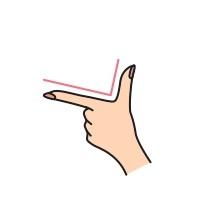 手をL字型にしているイラスト画像
