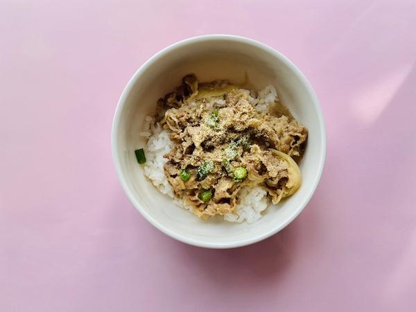 米ぬかパウダーをかけた牛丼
