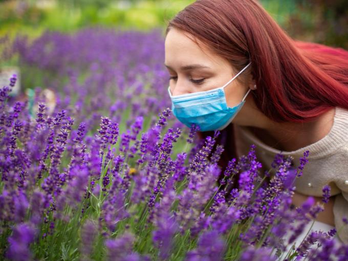 ラベンダーの香りをかぐマスクの女性