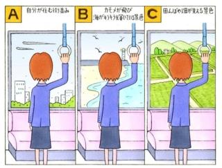 【心理テスト】電車に乗っています。窓から見える景色は次のうちどれ?