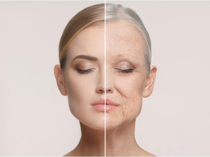 老化した女性の顔