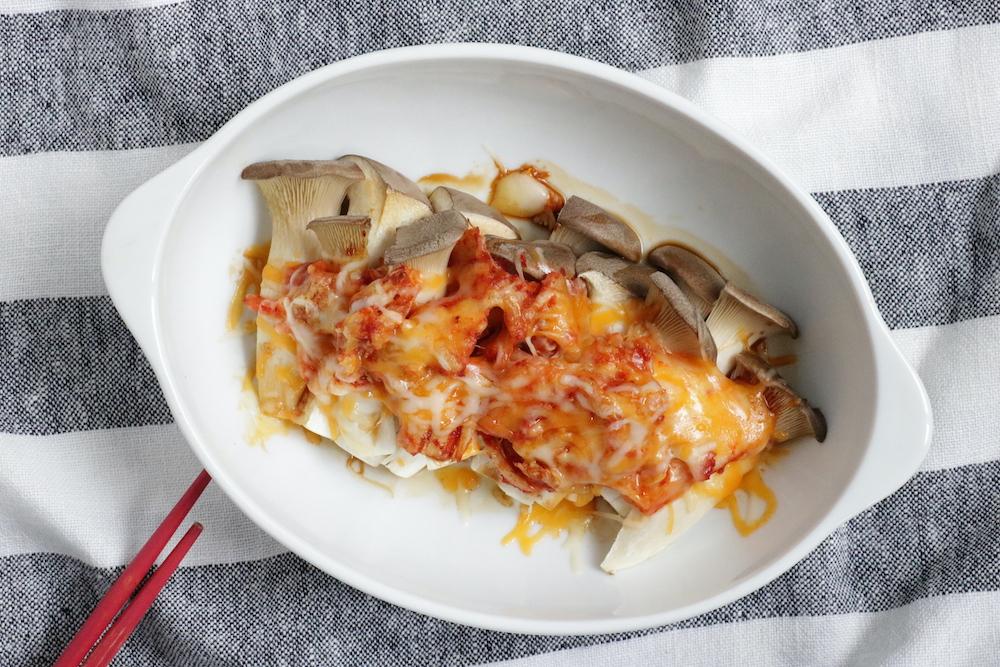 エリンギとキムチのチーズトースター焼き