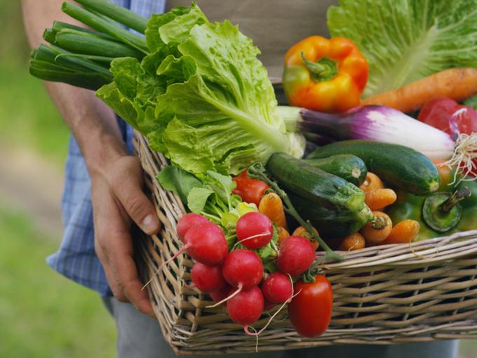 かごに積んだ野菜