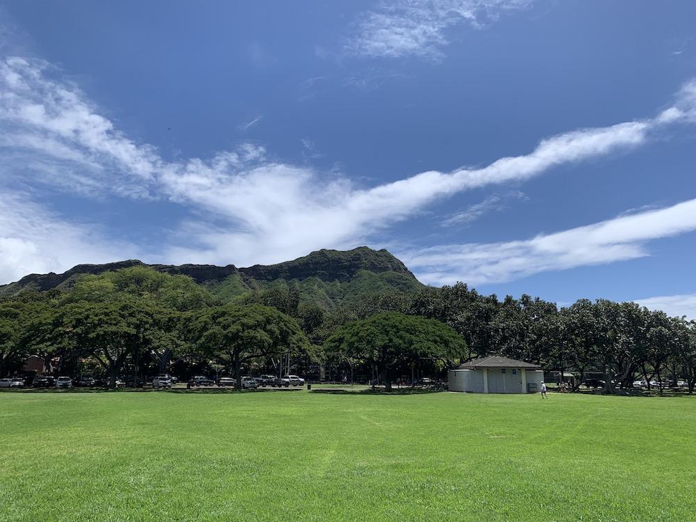 ハワイの緑ある広場