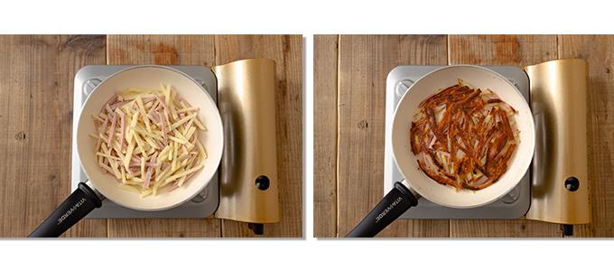 (左)材料をフライパンに入れて丸く成形した状態。(右)裏返して焼いている状態。
