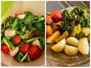 蒸し焼き調理中の野菜とできあがり