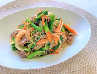 ぷりぷりしらたきでおいしくカロリーオフ! 「春野菜と砂肝のオイスター焼きそば風」 #今日の作り置き