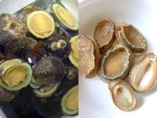 収穫した大量の松葉貝と下処理した松葉貝