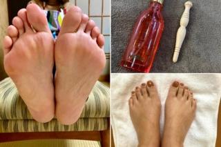 足裏、足の甲、刺激棒画像