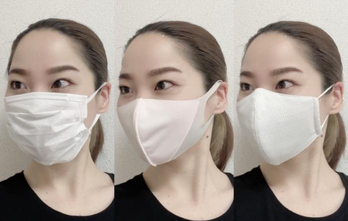 装着時のマスクの比較横顔