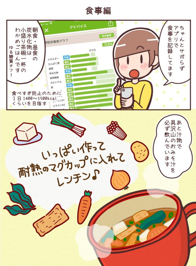 【食事編】ちゃんとサボらずアプリで食事を記録してます。朝食・昼食の炭水化物はこもり茶碗一杯のわかめごはんです。食べすぎ防止のために1日1400〜1500kcalくらいを目指す!あと汁物で具沢山のおみそ汁を必ず飲んでいます。いっぱい作って耐熱のマグカップに入れてレンチン♪