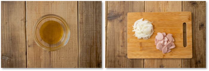 (左)カルパッチョソース。(右)切った新玉ねぎとおさかなのソーセージ。