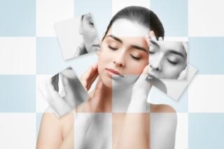女性のモノクロ写真とのコラージュ画像