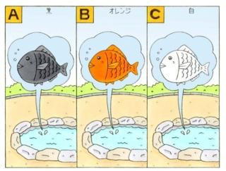【心理テスト】池の中に大きな魚がいます。その魚はどんな色だった?