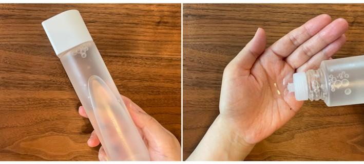 化粧水のボトル(ふたが白)と手のひら画像
