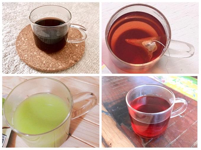 飲みものの入った耐熱ガラスマグカップ