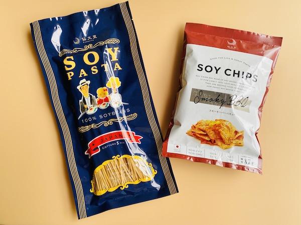 仙台豆シリーズのソイパスタとソイチップス