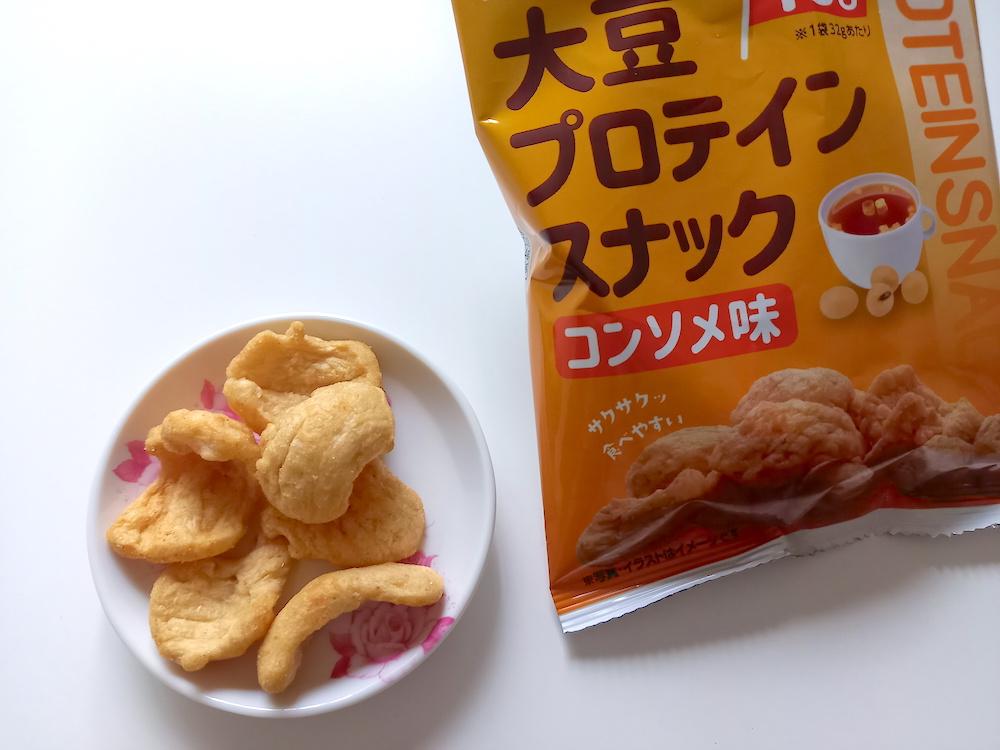 大豆プロテインスナック、コンソメ味の中身