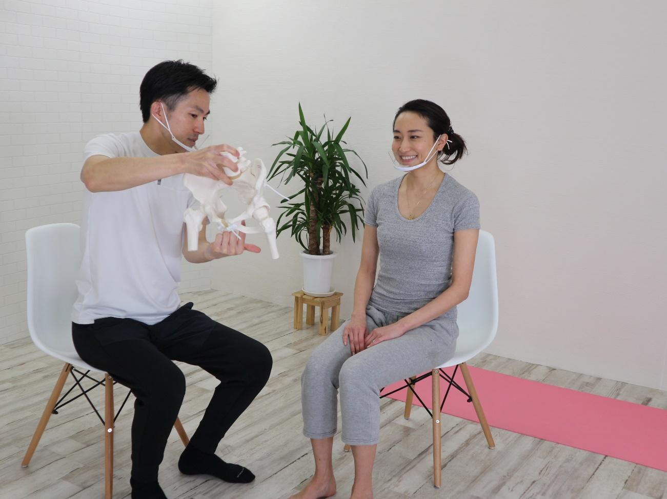 伊藤さんが女性に模型を見せながら話をしている写真