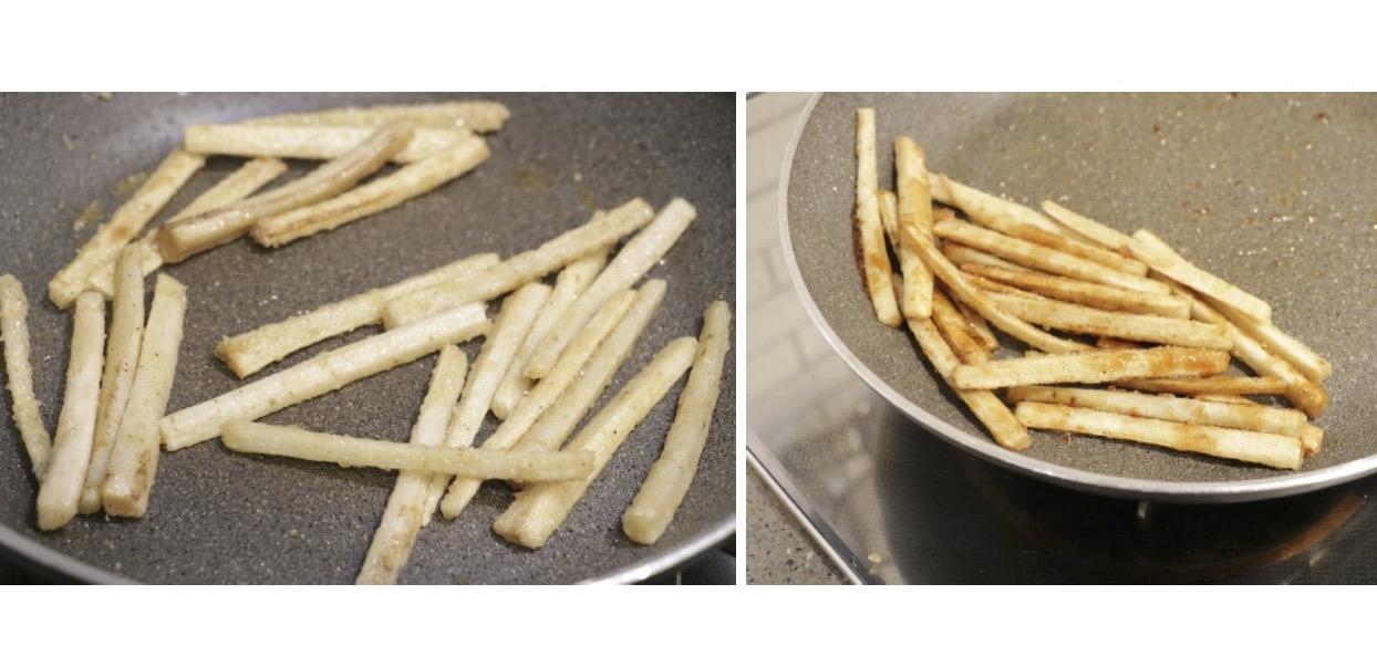 ごぼうをフライパンで揚げ焼きにする