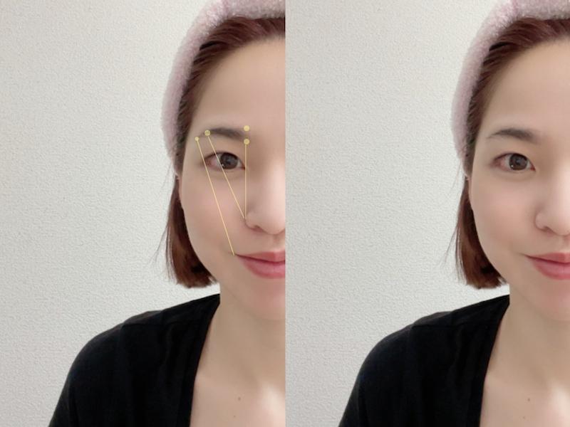 眉毛を描くポイントに印をつけた画像