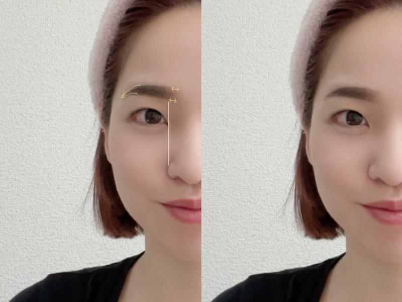 眉頭と眉尻にポイント印が入った画像