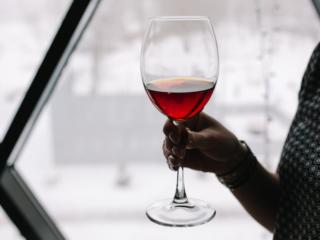 ワイングラスを持つ人