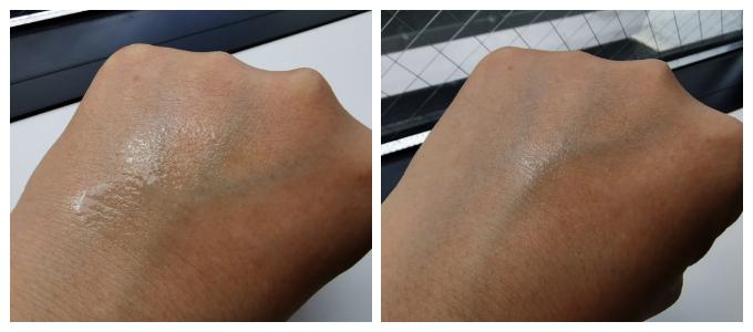 左:2度プッシュした状態。 右:肌に乗せてから1分置いた状態。すばやくなじむのもいい!