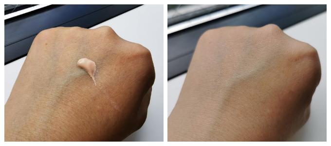 左:肌色に近いベージュ。みずみずしいテクスチャーです。 右:のばしたところ。肌なじみがよく、肌の色もワントーンアップ!