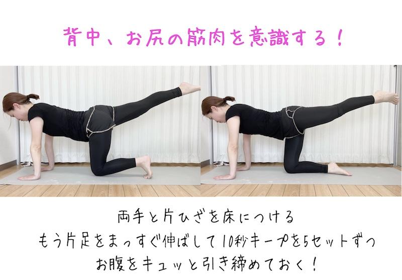 両手と片ひざを床につけて、もう片脚はまっすぐうしろに伸ばす