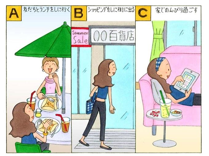 ランチ、ショッピング、家で過ごしている女性のイラスト