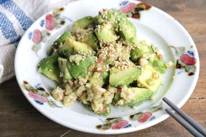オートミールの新しい食べ方!  モチモチ食感の「オートミールとアボカドの梅ごまナムル」#腸活レシピ