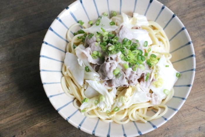 豚肉と白菜漬けのマヨポン冷製パスタ