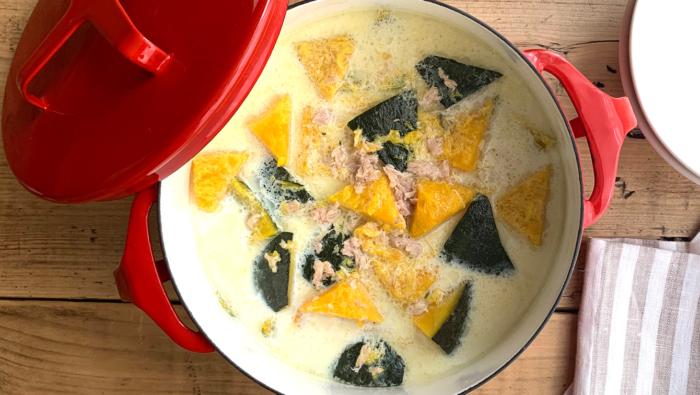 冷凍かぼちゃ×ツナ缶の簡単レシピ!時短でできるミルクスープ