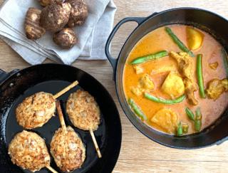里芋と鶏肉のレシピ2選!ご飯が進む、カレー煮込みと甘辛つくね