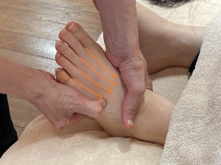 足の甲を流している画像