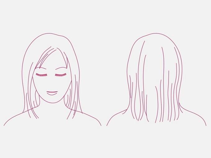 セミロングの女性のイラスト