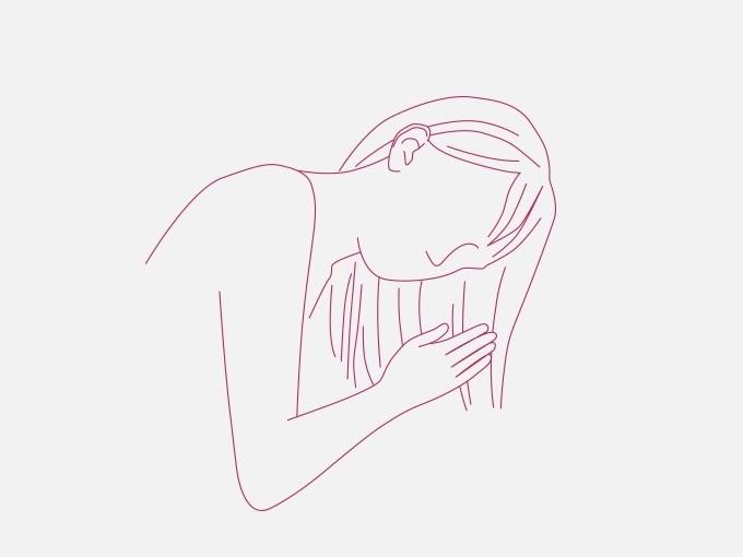 トリートメントを髪になじませている女性のイラスト