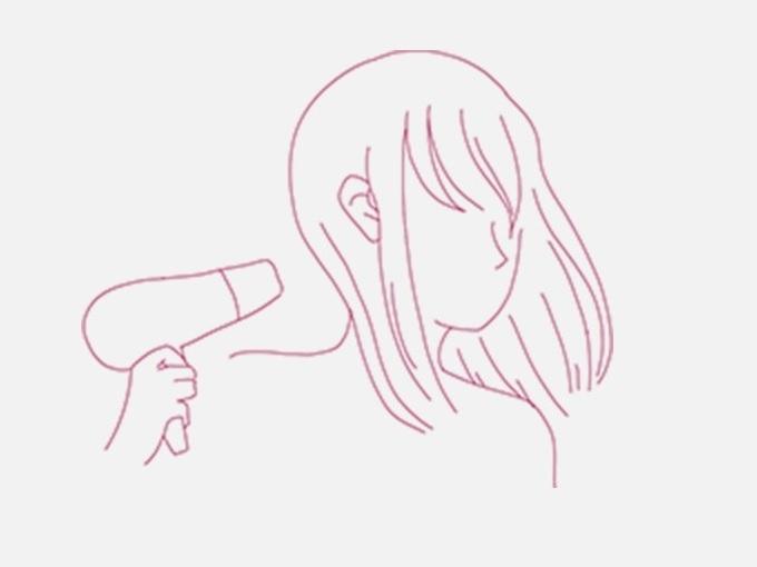 ドライヤーを髪に当てている女性のイラスト